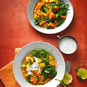 Kürbis-Spinat-Stew mit Raita