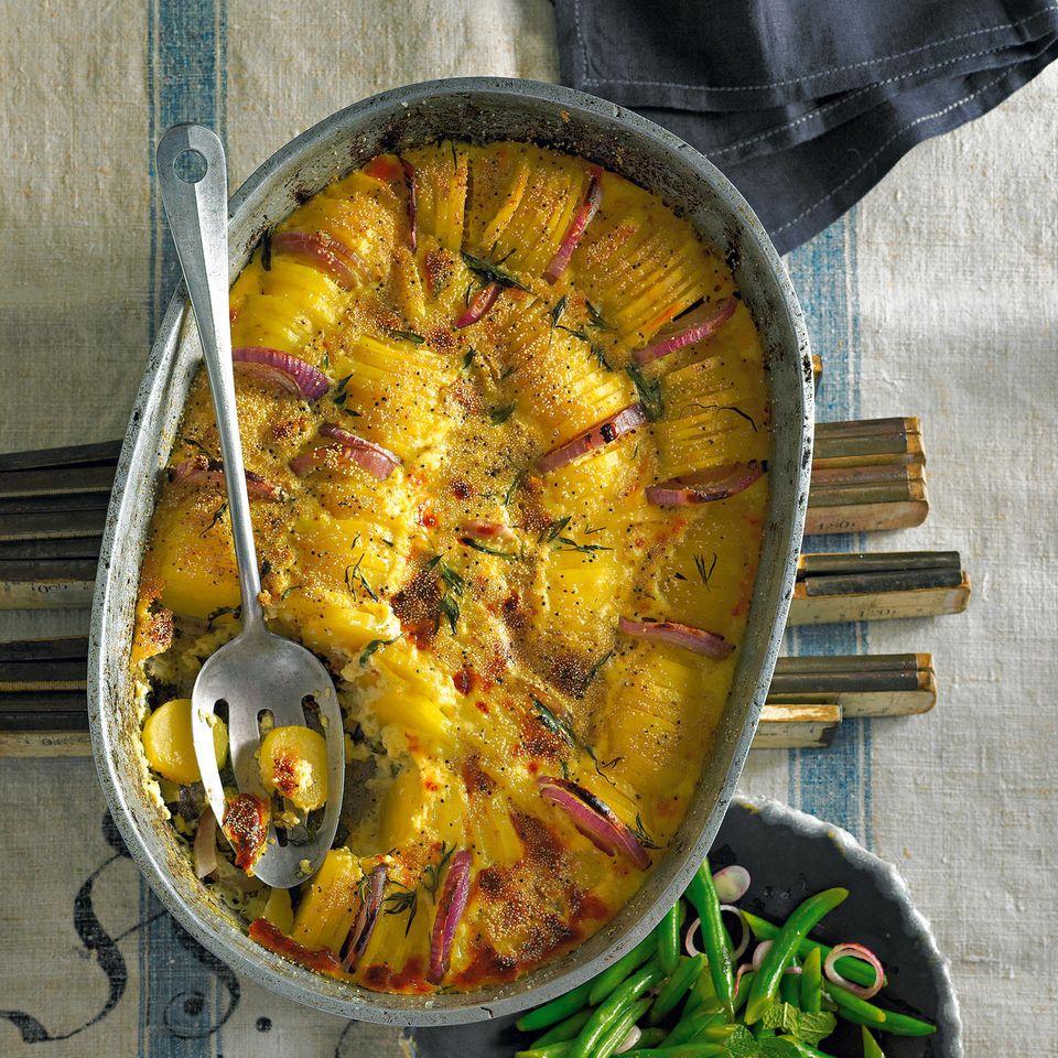 Kartoffelgratin mit Mohn und Bohnensalat