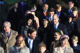 Weihnachten bei den Royals: Herzogin Kate, Prinz William, Prinz George, Prinz Charles und Prinzessin Eugenie gehen