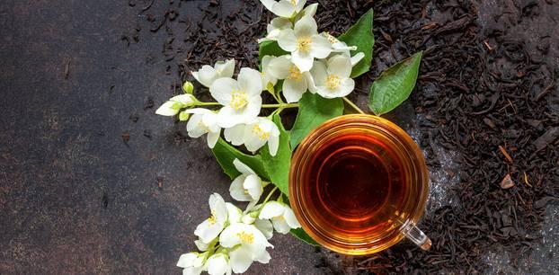 Jasmintee: Jasmintee in Tasse neben Blüten