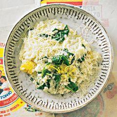 Zitronen-Risotto mit Spinat und Ricotta