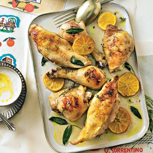 Mandarinenhuhn mit Chicorée-Salat