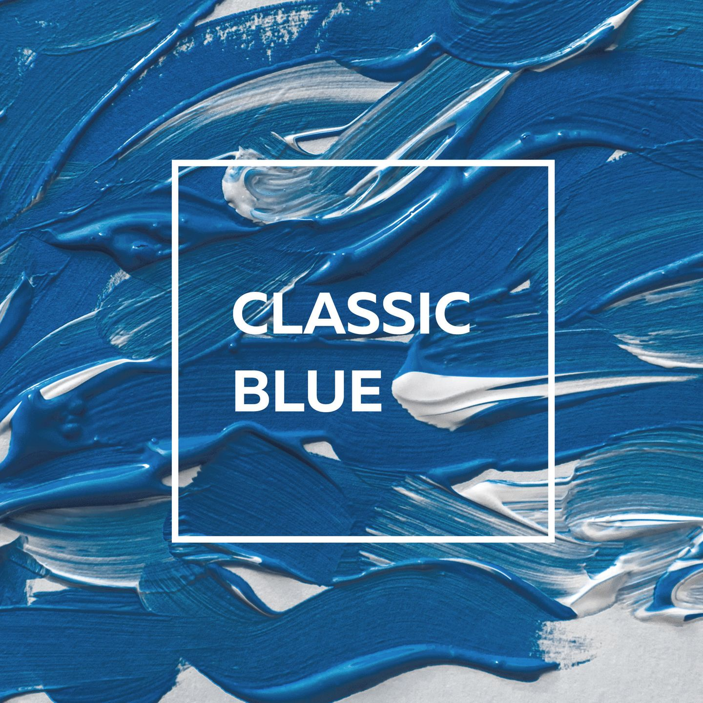 "Pantone Trendfarbe 2020: Pinselstriche in der Trendfarbe ""Classic Blue"""