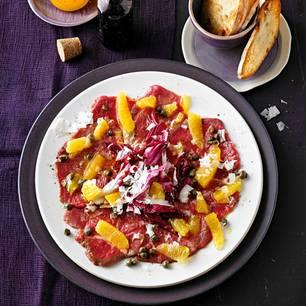 Rinder-Carpaccio mit Orangen und Manchego