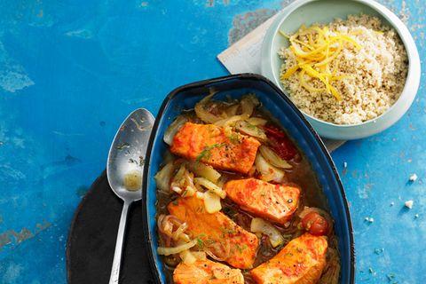 Lachs mit Harissa und Zitronen-Couscous