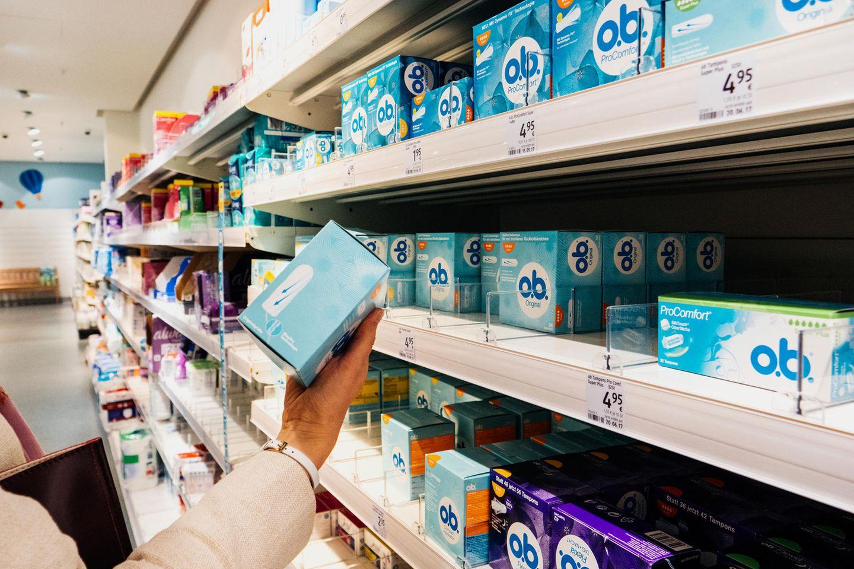 Tampons im Supermarkt