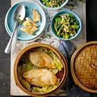 Dampf-Hähnchen mit grünem fried Rice