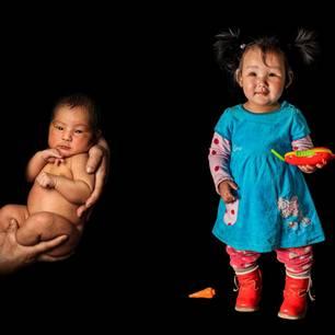 Sieben Babys: Kind als Baby und Kleinkind