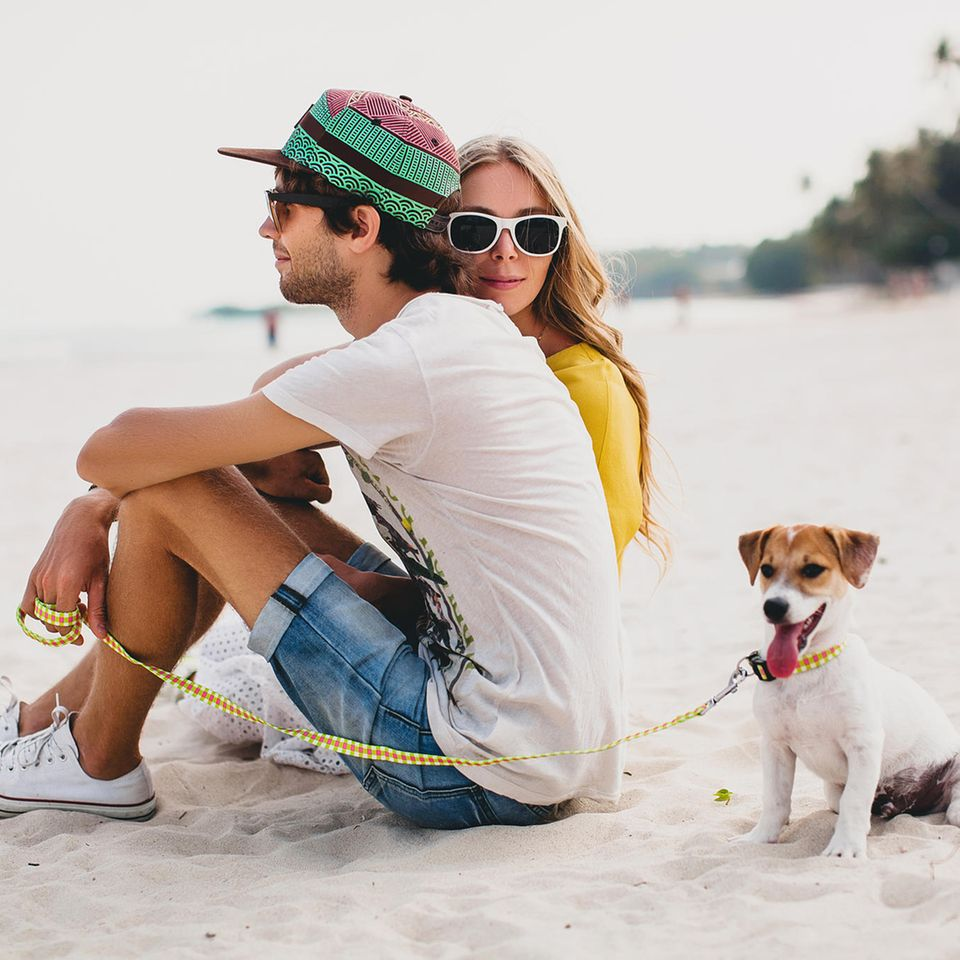 Date-Ideen: Ein stylisches Pärchen mit einem Hund am Strand