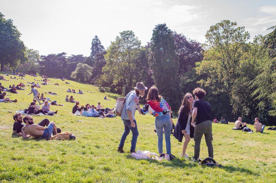 Menschen liegen auf Wiese im Park