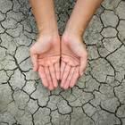 Rissige Hände: Hände über trockener Erde