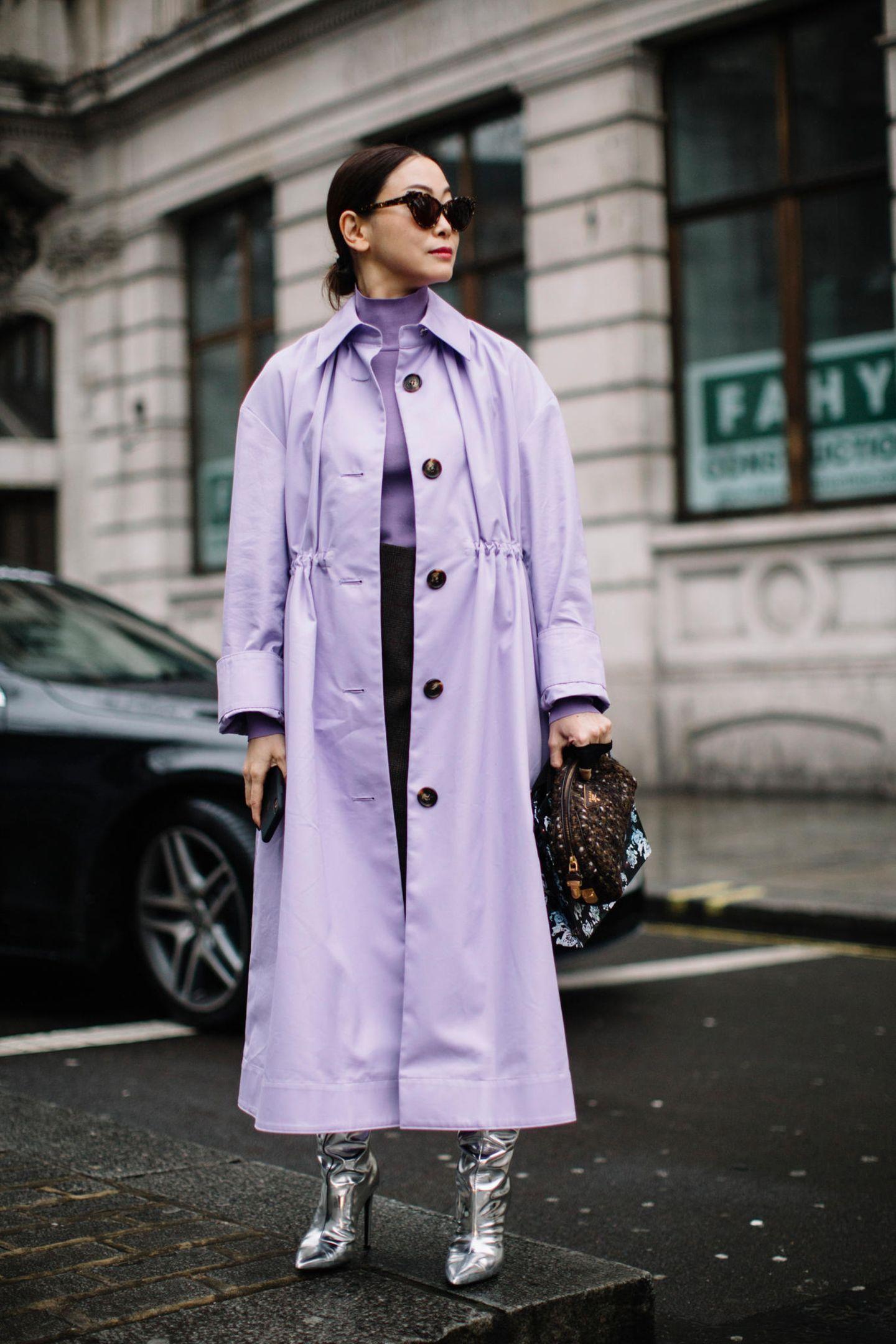 Modetrends Frühjahr/Sommer 2020: Das bleibt, das kommt: Pastell Lila Mantel