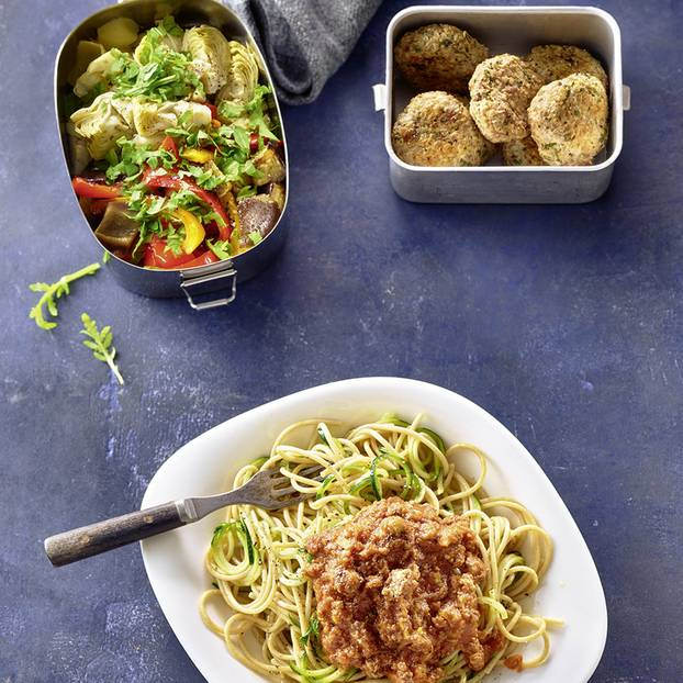 Meal-Prep-Rezepte: Antipasti und Zucchini-Spaghetti