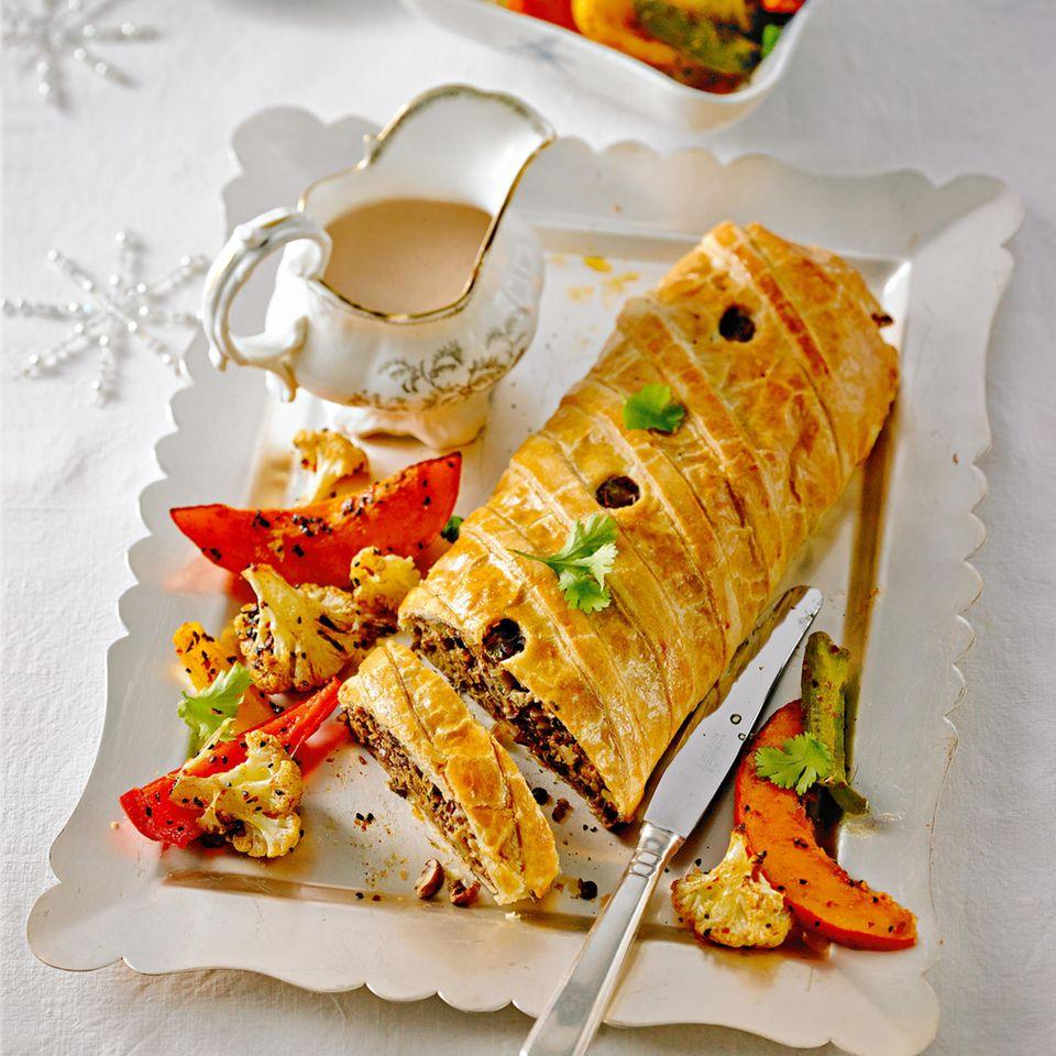 Linsen-Pastete mit Parmesan-Soße