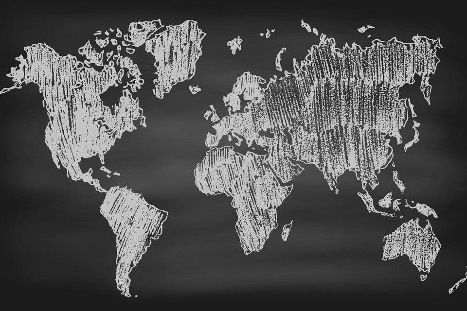 Zeichnung der Welt auf Tafel