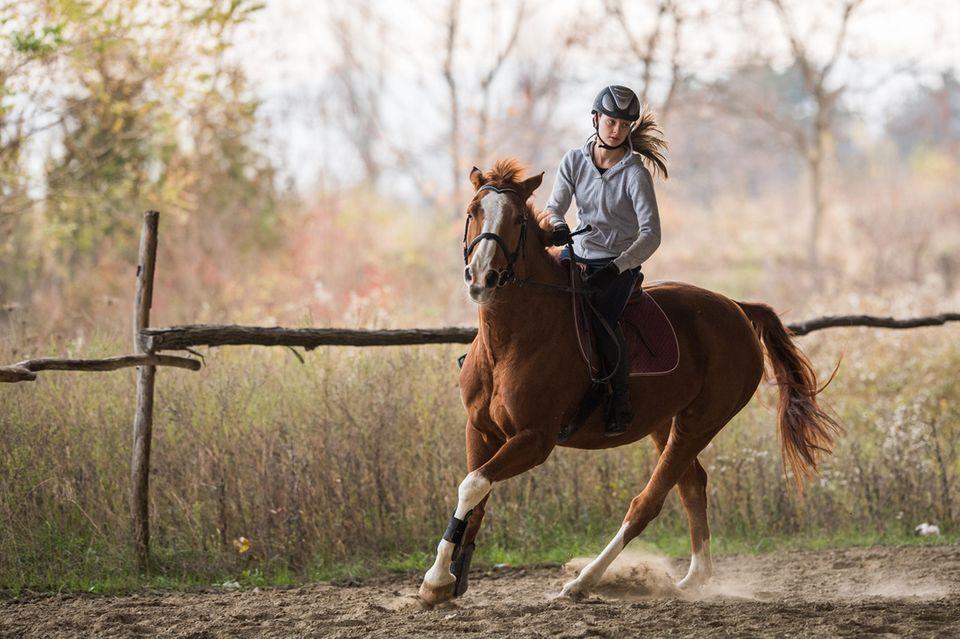 Frau und Pferd beim Galopp