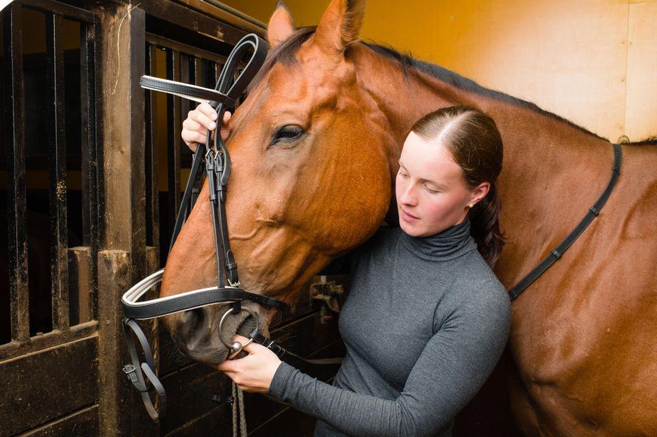 Frau legt Trensen am Pferd an