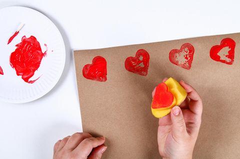 Herzstempel aus Kartoffel