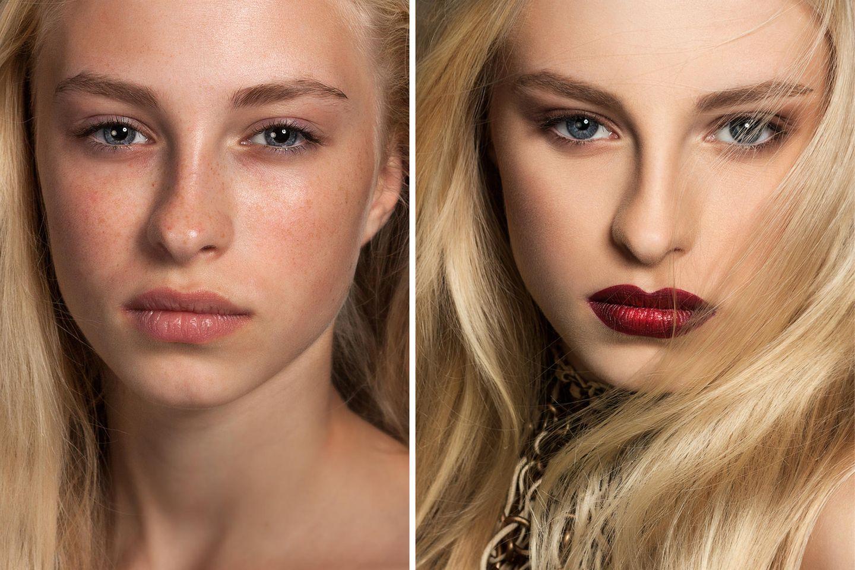 Frau mit und ohne Make-up Vergleich