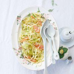 Pasta mit Fenchel und Lachscarpaccio