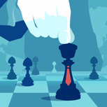 Hand bewegt Schachfigur mit Krawatte