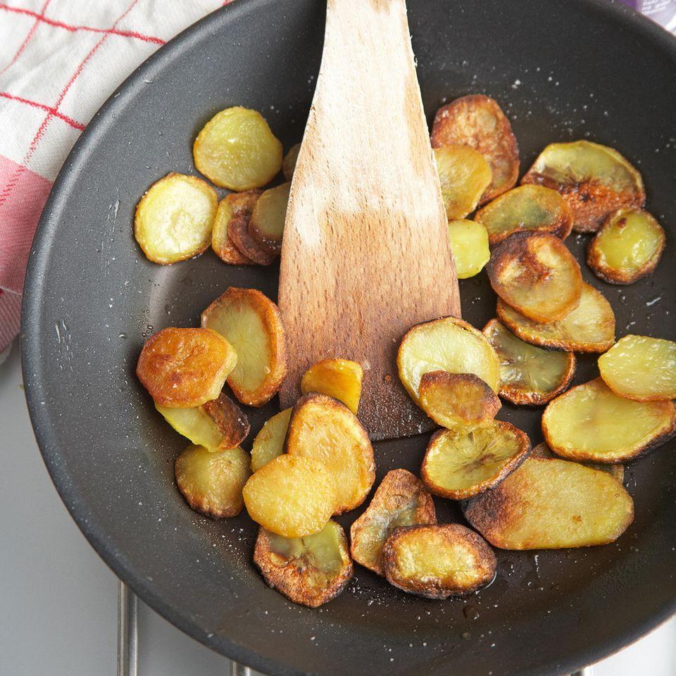Bratkartoffeln mit Spinat