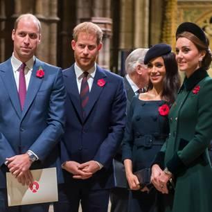 Prinz Harry, Prinz William zusammen mit Kate und Meghan