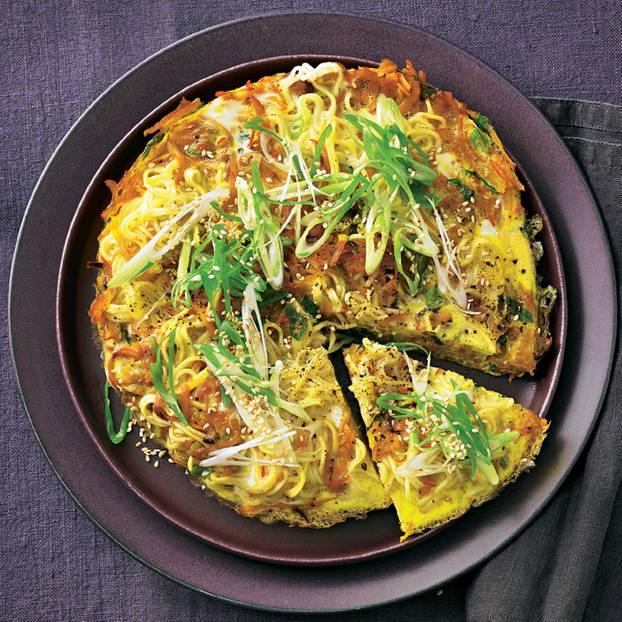 Kürbis-Lauchzwiebel-Omelette