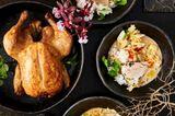 Hähnchen mit Reis, Chili-Sojasoße und Weißkohl