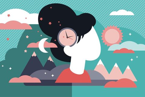 Horoskop: Illustration einer Frau mit einer Uhr in den Haaren