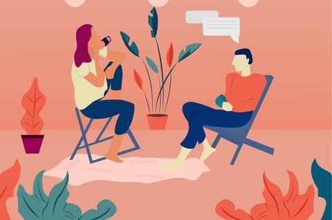 Horoskop: Illustration zweier Menschen, die sich unterhalten