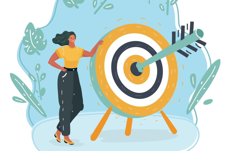 Horoskop: Illustration einer Frau neben einer Zielscheibe, bei der der Pfeil in der schwarzen Mitte steckt