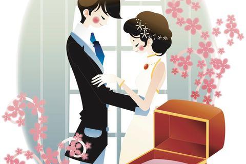 Horoskop: Illustration eines Brautpaares