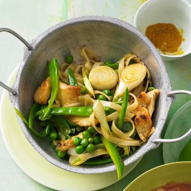 Wok-Pfanne mit Hähnchen