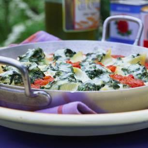 Muschelnudeln mit Spinat