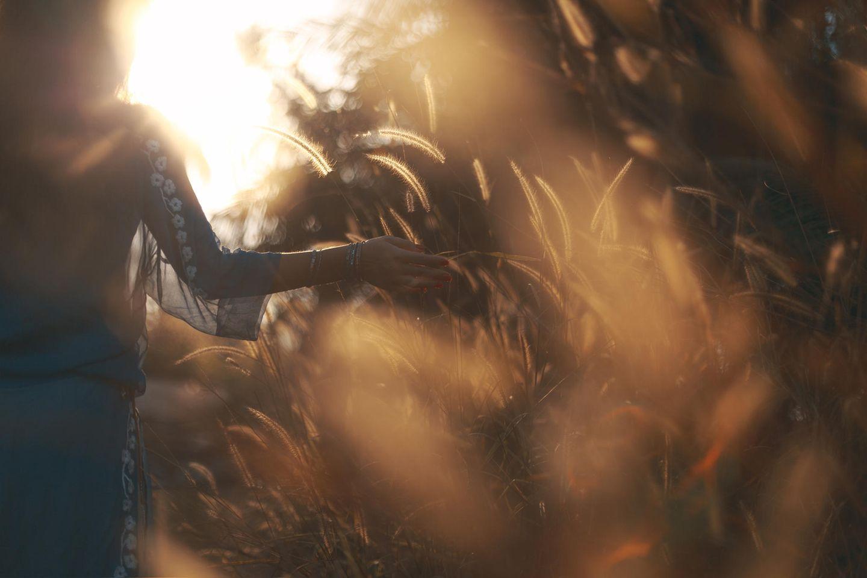 Horoskop: Eine Frau geht durch ein Kornfeld
