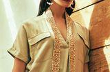 Ethno-Look: Beiges Kleid mit Schal