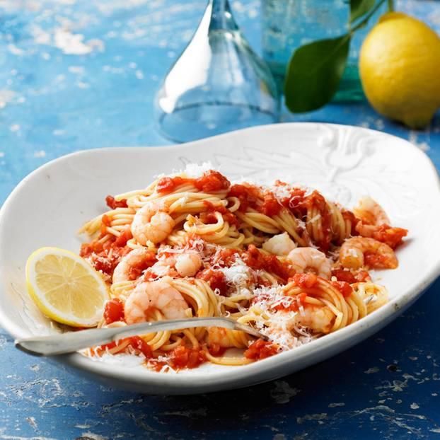 Spaghetti all' arrabbiata mit Garnelen
