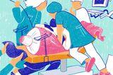 Gewalt im Kreißsaal: Illustration von schwangerer Frau während der Geburt