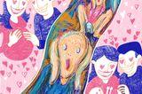 Gewalt im Kreißsaal: Illustration von schwangerer Frau und Partner