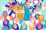 Gewalt im Kreißsaal: Illustration von Babys und Arzt