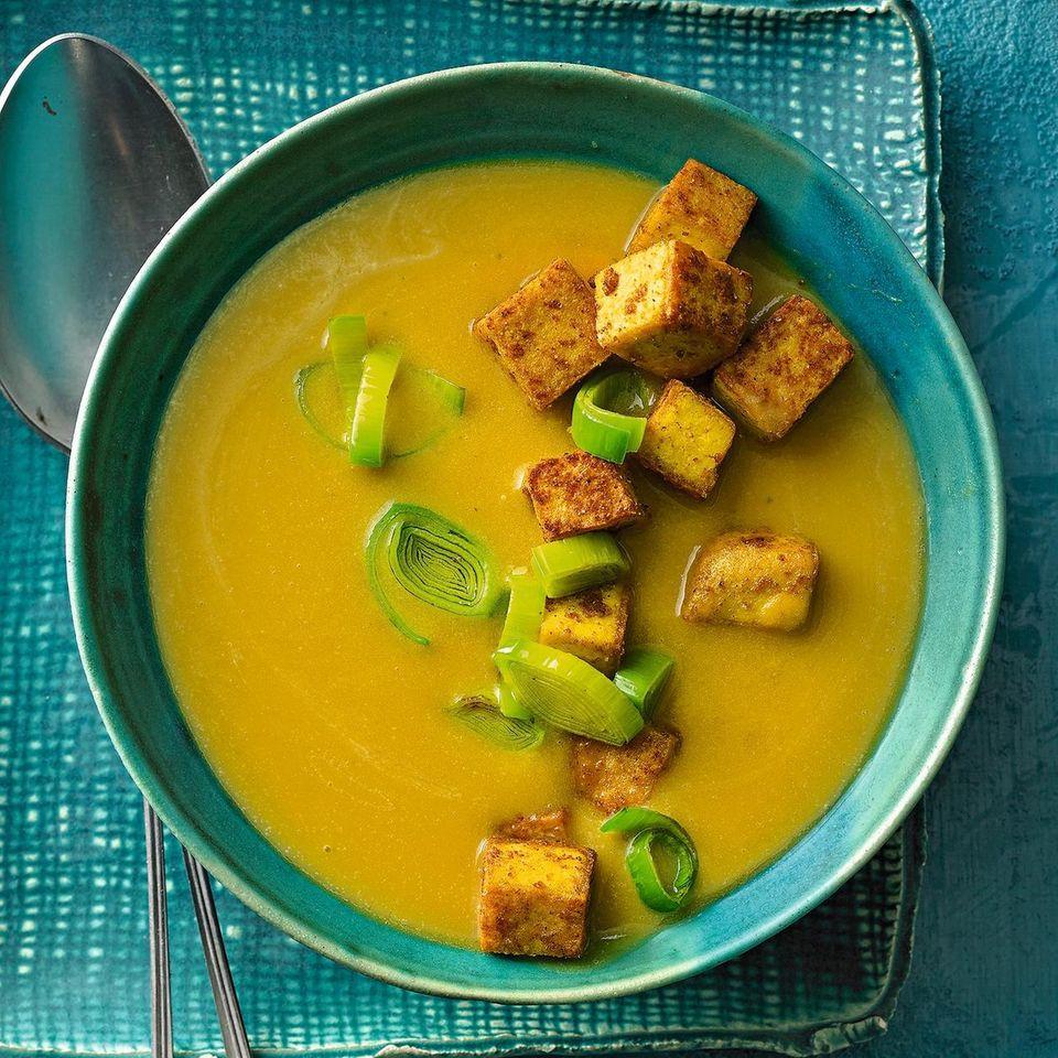 Lauch-Kürbis-Suppe mit Tofu