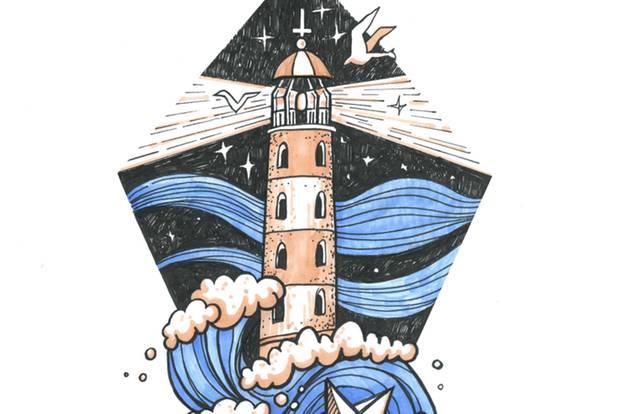Leuchtturm-Tattoo - Gezeichneter Leuchtturm