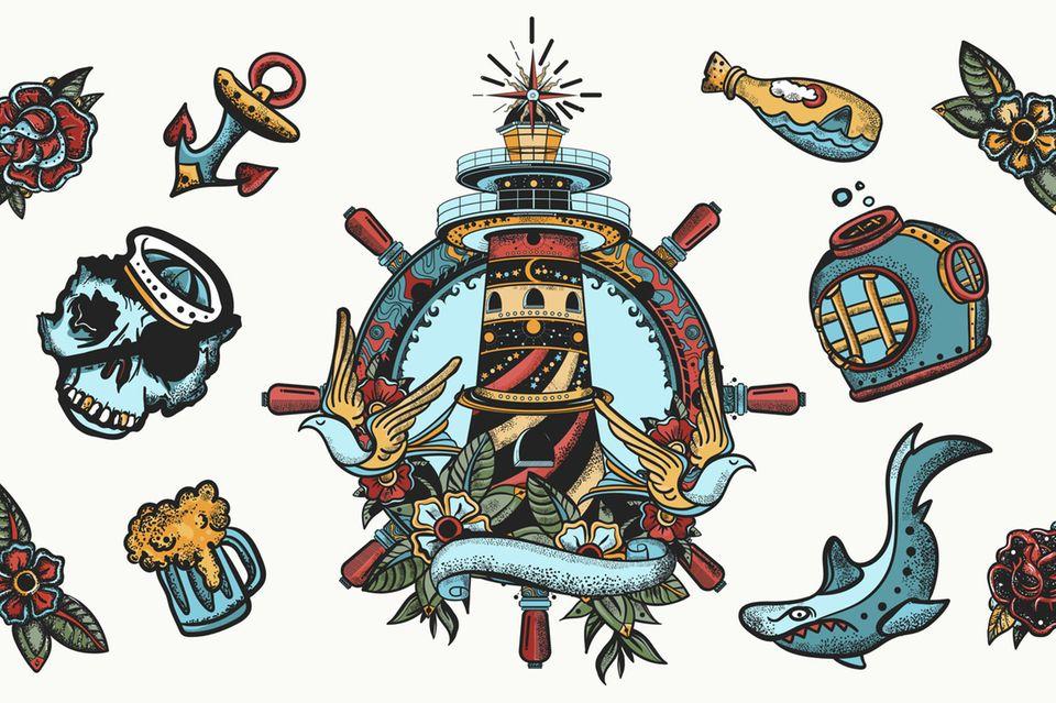 Leuchtturm-Tattoo - Oldschool Tattoo Vorlage mit Leuchttumr