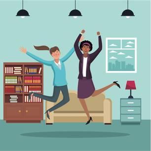 Horoskop: Illustration fröhlicher Geschäftsfrauen zu Hause