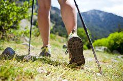 Frau beim Nordic Walking im Gebirge