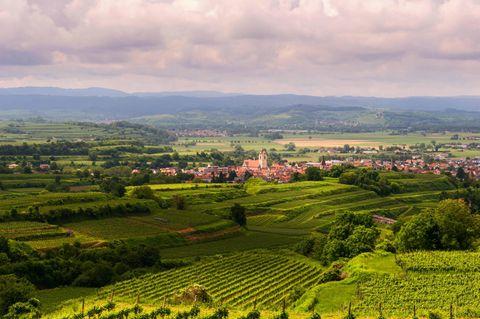 Dorf umgeben von Feldern