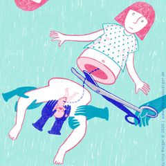 Gewalt im Kreißsaal: Illustration von schwangerer Frau