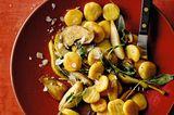 Gnocchi mit Salbei, Pilzen und Kochbirnen