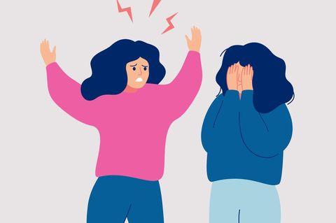 Horoskop: Illustration zweier Frauen, von denen eine weint